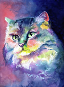 Cat Paintings - Rainbow Persian by Sherry Shipley