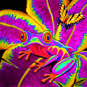 Amphibians Digital Art Prints - Rainbow Red Eyed Tree Frog Print by Nick Gustafson