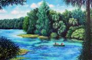 Florida Waterscape Originals - Rainbow River at Rainbow Springs Florida by Penny Birch-Williams
