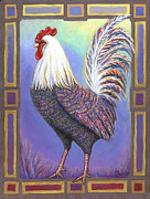Rooster Posters - Rainbow Rooster Poster by Linda Mears