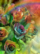 Rainbow Mixed Media Metal Prints - Rainbow Roses Metal Print by Carol Cavalaris