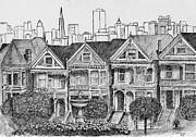 Old Houses Drawings - Rainbow Row  by Al Intindola