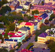 Arial View Art - Rainbow Row Arial by Doug DeLong