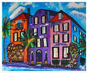 Rainbow Row Paintings - Rainbow Row - Charleston by Ricardo Of Charleston