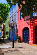 Rainbow Row Framed Prints - Rainbow Row Charleston Framed Print by Skip Willits