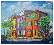 City Scape Paintings - Rainbow Row Earthquake Bolts by Ricardo Of Charleston