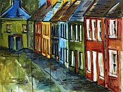 Rainbow Row Paintings - Rainbow Row by Katherine James