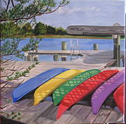 Boats At Dock Prints - Rainbow Row Print by Susan Dyson