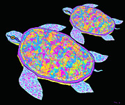 Sea Turtles Posters - Rainbow Sea Turtles Poster by Nick Gustafson