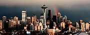 Seattle Skyline Posters - Rainbow Seattle Panorama Poster by Benjamin Yeager