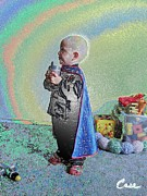 Feile Case Prints - Rainbow Sherbet Little Ninja Boy Print by Feile Case