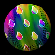 Rainbow Showers Baseball Square Print by Andee Photography