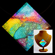 River Jewelry Prints - Rainbow Sky Necklace Print by Alene Sirott-Cope
