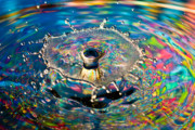 Liquid Framed Prints - Rainbow Splash Framed Print by Anthony Sacco