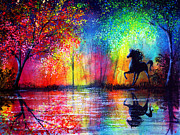 Surreal Paintings - Rainbow Stallion by Ann Marie Bone