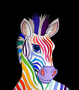 Colorful Animals Drawings Framed Prints - Rainbow Striped Zebra 2 Framed Print by Nick Gustafson
