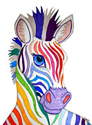 Zebra Drawings - Rainbow Striped Zebra by Nick Gustafson