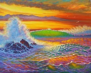 Crashing Surf Paintings - Rainbow Sunset by Joseph   Ruff