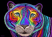 Wild Animals Mixed Media Posters - Rainbow Tiger Poster by Nick Gustafson