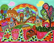 Brilliant Paintings - Rainbow Town by Susan DeBow