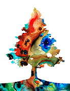 Single Mixed Media - Rainbow Tree 2 - Colorful Abstract Tree Landscape Art by Sharon Cummings