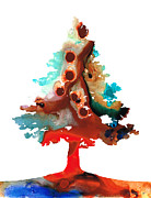 Wall Art Mixed Media - Rainbow Tree 3 - Colorful Abstract Tree Landscape Art by Sharon Cummings