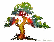 Tree Roots Painting Posters - Rainbow Tree Poster by Daniel  Adams