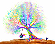 Swing Digital Art Prints - Rainbow Tree Fun Print by Nick Gustafson