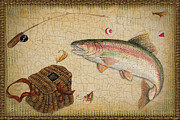 Fishing Flies Paintings - Rainbow Trout-Basket Weave by Jean Plout