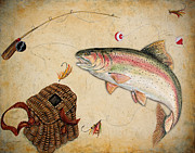 Fishing Flies Paintings - Rainbow Trout by Jean Plout