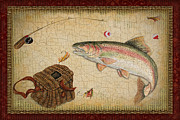 Fishing Flies Paintings - Rainbow Trout-Red Damask by Jean Plout