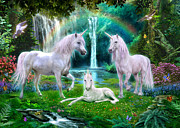 Unicorns Posters - Rainbow Unicorn Family Poster by Jan Patrik Krasny