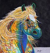 Mustang Paintings - Rainbow Warrior - Mestengo by Joe  Triano
