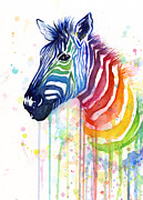Animal Art Painting Prints - Rainbow Zebra - Ode to Fruit Stripes Print by Olga Shvartsur