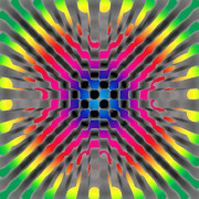 Op Art Digital Art Posters - Rainbow Zoom Poster by Stephen Conroy