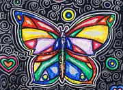 Abstracted Drawings Prints - Rainbows and Butterflies Print by Shana Rowe
