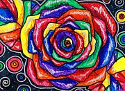 Polka Drawings Prints - Rainbows and Roses Print by Shana Rowe