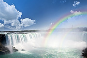 Waterfalls Posters - Rainbows at Niagara Falls Poster by Elena Elisseeva