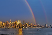 Double Framed Prints - Rainbows Over the New York City Skyline Framed Print by Susan Candelario