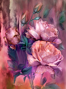 Roses Prints - Raindrops On Peach Roses Print by Carol Cavalaris