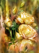 Romantic Roses Framed Prints - Raindrops On Yellow Roses Framed Print by Carol Cavalaris
