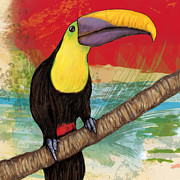 Charcoal Mixed Media - Rainforest Bird - Keel Billed Toucan Stylised Pop Art Drawing Potrait Poser by Kim Wang