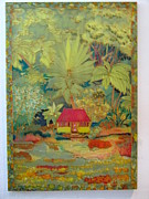 Island Tapestries - Textiles Prints - Rainforest Cottage Print by Nandy King