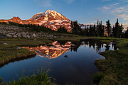 Mount Rainier Framed Prints - Rainier Last Light Framed Print by Mike Reid