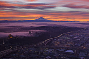 Rainier Sunrise Center Print by Mike Reid