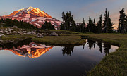 Mount Rainier Prints - Rainiers Ember Glow Print by Mike Reid