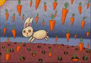 Rabbit Painting Posters - Raining Carrots Poster by James W Johnson