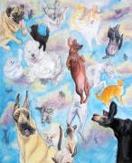 Pet Drawings Prints - Raining cats and dogs  Print by Heidi Rissmiller