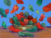 Chili Peppers Painting Originals - Raining Chiles by Joan Young