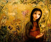 Young Girl Mixed Media Originals - Raining Garden by Shijun Munns